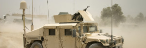 Antenna on armoured car