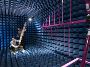 PPM Systems Anechoic Chamber with staff testing an antenna