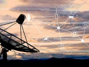 Satellite dish with SIGINT (signals intelligence) data